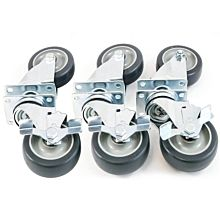 PFC-6 Heavy Duty Range and Fryer Casters, Black (Set of 6, 3 Brake)