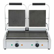 """22"""" Double Commercial Panini / Sandwich Press, Grooved Surface, 18.5"""" x 10"""" Cooking Surface, 120v"""