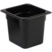 "Thunder Group PLPA8166BK 1/6 Size Black Polycarbonate Shatter Resistant Food Pan with 6"" Depth"