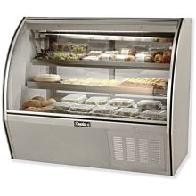 "Leader ERHD60 60"" Refrigerated Curved Glass Deli Display Case with 2 Shelves, High, ETL-S"