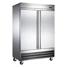 "Universal RIFI-54 54"" Stainless Steel Two Solid Door Reach-In Freezer, 47 Cu. Ft."