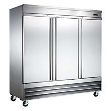 "Universal RIFI-81 81"" Stainless Steel Three Solid Door Reach-In Freezer, 72 Cu. Ft."