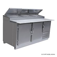 """Universal SC-72-PPT 72"""" Refrigerated Stainless Steel Pizza Prep Table"""