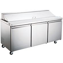 "Coldline S-SP72 72"" Standard Top Bain Marie Sandwich Prep Refrigerator with Pan Liner - 18 Pan"
