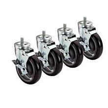 Prepline PPEC-3-SB 3″ Low Profile Stem Post Casters with Side Brake, (Set of 4)