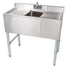 "BAR1014-1RL 36"" Single Compartment Bar Sink, Right And Left Drainboard"