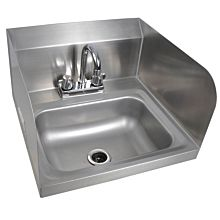 "Prepline PHS16-SP 16"" Hand Sink, 2 Side Splash, with Faucet, NSF"