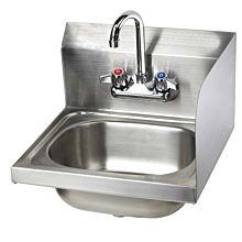 "16"" Stainless Steel Wall Hung Hand Sink with Faucet, RIGHT SIDE SPLASH"
