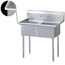 "51"" Economy 2 Compartment Utility Sink, 21""W x 24L Bowl - All Around Edge"