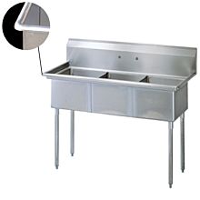 "75"" Economy 3 Compartment Utility Sink, 24""W x 24L Bowl - All Around Edge"