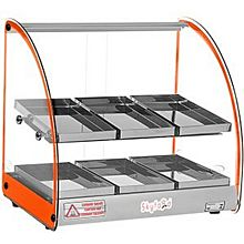 Skyfood FWD2-18O 18'' Food Warmer Display Case - Double Shelf - Orange