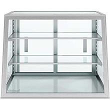 """Custom Glass 28""""L x 12""""D x 20""""H, 2 Shelves, Tapered / Slanted Front Countertop Glass Food Display Case, Dry"""