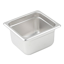 "Winco SPJL-604 Sixth size stainless steel steam table pan, 4"" depth"