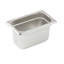"Winco SPJL-904  Ninth size stainless steel steam table pan, 4"" depth"