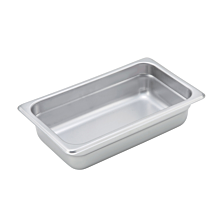 "Winco SPJM-402 Quarter size stainless steel steam table pan, 2 1/2"" depth"