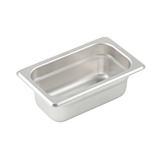 "Winco SPJP-902  Ninth size stainless steel steam table pan, 2 1/2"" depth"