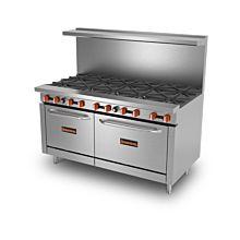 "Sierra Range SR-10-60 60"" Gas Restaurant Range with 10 Burners & 2 Ovens - 360,000 BTU"