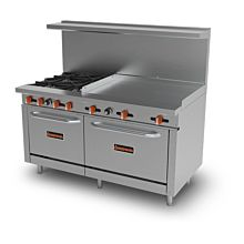 "Sierra Range SR-4B-36G-60 60"" Gas Restaurant Range with 4 Burners & 2 Ovens - 246000 BTU"