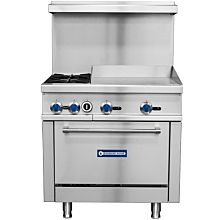 "Standard Range SR-R36-24MG 36"" Commercial Gas Range with 2 Burners, 24"" Griddle Top, 1 Oven - 153,000 BTU"