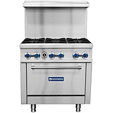 "Standard Range SR-R36 36"" Commercial Gas Range with 6 Burners, 1 Oven - 213,000 BTU"