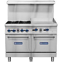 """Standard Range SR-R48-24MG 48"""" Natural Gas Commercial Range with 4 Burners, 24"""" Griddle Top , 2 Ovens - 246,000 BTU"""