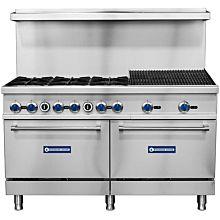 """Standard Range SR-R60-24CB 60"""" Commercial Gas Range with 24"""" Char-Broiler, 6 Burners, 2 Ovens - 316,000 BTU"""