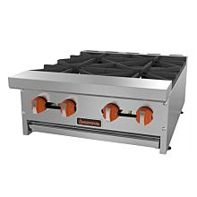 "Sierra Range SRHP-4-24 24"" Commercial Hot Plate with 4 Burners - 120,000 BTU"