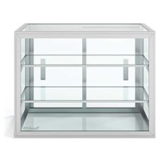 "Custom Glass 28"" Countertop Straight  Glass Food Display Case with 2 Shelves, Dry"