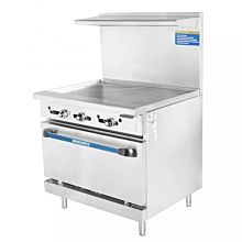 Turbo Air Radiance TAR-36G Gas Commercial Range with Oven & Griddle - 94K BTU