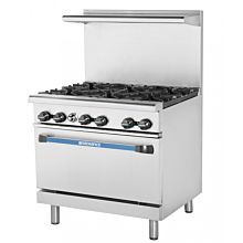 Turbo Air Radiance TAR-6 6 Burner Gas Commercial Range with Oven - 227K BTU