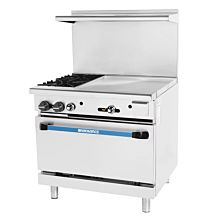 Turbo Air Radiance TARG-2B24G 2 Burner Gas Commercial Range with Oven & Griddle - 136K BTU