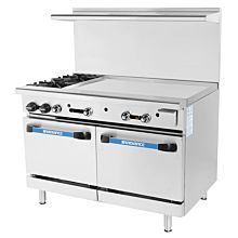 Turbo Air Radiance TARG-2B36G 2 Burner Gas Commercial Range with Oven & Griddle - 193K BTU