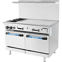 Turbo Air Radiance TARG-2B48G 2 Burner Gas Commercial Range with Oven & Griddle - 215K BTU