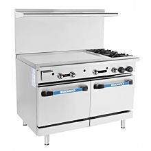 Turbo Air Radiance TARG-36G2B 2 Burner Gas Commercial Range with Oven & Griddle - 193K BTU