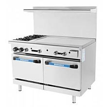 Turbo Air Radiance TARG-48G2B 2 Burner Gas Commercial Range with Oven & Griddle - 215K BTU