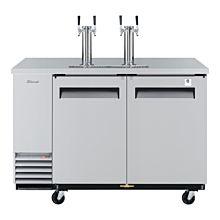 "Turbo Air TBD-2SD-N6 59"" Two Door Draft Beer Cooler Dispenser - 2 Tower, 4 Tap, S/S"