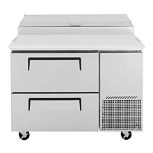 """Turbo Air TPR-44SD-D2-N 44"""" Refrigerated Super Deluxe Pizza Prep Table, 2 Drawer - (6) x 1/6 Pans"""