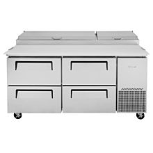 """Turbo Air TPR-67SD-D4-N 67"""" Refrigerated Super Deluxe Pizza Prep Table, 4 Drawer - (9) x 1/6 Pans"""