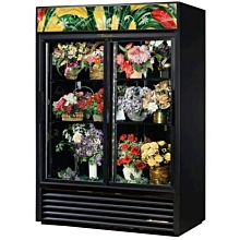 True GDM-47FC-HC-LD 2 Section Floral Cooler w/ Sliding Door - Black, 115v