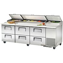 "True TPP-93D-6 93"" Pizza Prep Table w/ Refrigerated Base, 115v"