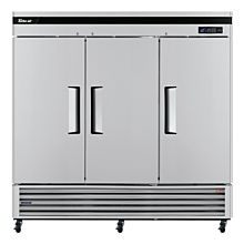 """Turbo Air TSF-72SD-N 72"""" Stainless Steel Three Solid Swing Door Super Deluxe Reach-in Freezer, Bottom Mount - 63.8 Cu. Ft."""