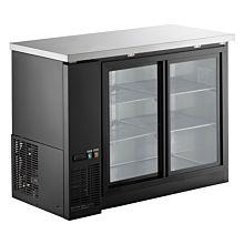 """Coldline UBB-24-48G-Y-HC 48"""" Refrigerated Narrow Black Sliding Glass Door Back Bar Cooler"""