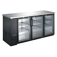 Coldline UBB-24-72G-HC 72″ Black Counter Height Narrow Glass Door Back Bar Refrigerator