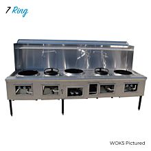 WOK7 Commercial 7 Ring Chinese Wok Range, Gas
