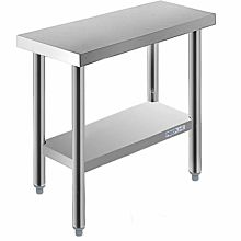 "Prepline PWTG-1430 14""D x 30""L Stainless Steel Worktable with Undershelf"