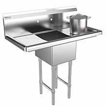 """Prepline 42"""" One Compartment Stainless Steel Sink, with Right and Left Drainboard, 14"""" x 16"""" Bowls"""
