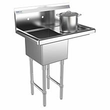 """Prepline 31"""" One Compartment Stainless Steel Sink, with Right Drainboard, 14"""" x 16"""" Bowls"""