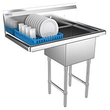 """Prepline 31"""" One Compartment Stainless Steel Sink, with Left Drainboard, 18"""" x 18"""" Bowls"""