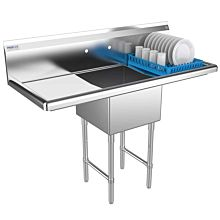 """Prepline 54"""" One Compartment Stainless Steel Sink, with Right and Left Drainboard, 18"""" x 18"""" Bowls"""