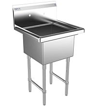 """Prepline 23"""" One Compartment Stainless Steel Sink, without Drainboard, 18"""" x 18"""" Bowls"""